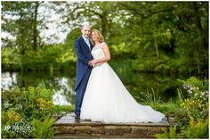Bride and groom portraits by the pond at The Ashes