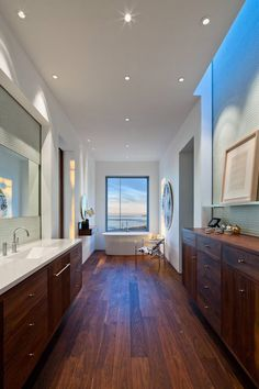 Carpinteria Foothills Residence - modern - bathroom - santa barbara - by Neumann Mendro Andrulaitis Architects LLP Home Interior Design, House Design, House Interior, House, Home, Contemporary House, Bathroom Trends, Walnut Wood Floors, Modern Style Decor