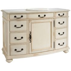 """ESTATE by RSI 49""""W Antiqued White Vintage Bath Vanity with Top  $779.00"""