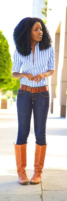 Striped Button-down Shirt + Skinnies + Riding Boots Style Pantry - Ecstasy Models
