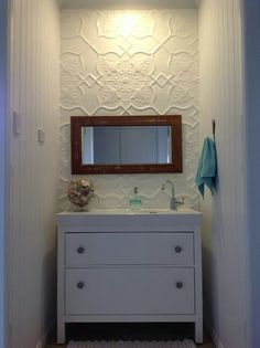 Doesn't the Shield pattern look wonderful in this bathroom.