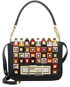 8fbafb1c7d Fendi 3baguette Embellished Leather Shoulder Bag. Get one of the hottest  styles of the season. Tradesy