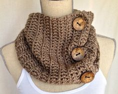 Crochet Cowl Neck Warmer Scarf - Maple Short Ribbed Yarn with Coconut Buttons on Etsy, $45.00 CAD