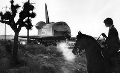 Jan. 31, 1977: A horse and rider watch as the space shuttle Enterprise is towed from Rockwell International's facility in Palmdale to Edwards Air Force Base for a year of flight tests. Photo: Art Rogers / Los Angeles Times