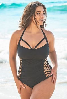 10e9ffe793f Ashley Graham x Swimsuits For All Boss Black Cut Out Underwire One Piece  Swimsuit | Swimsuits For All