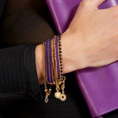 Are you #BerryCool because this bracelet stack sure is? #astleyclarke #bracelet #stacking #jewellery #designer #purple #gold #jewelry