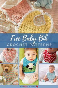 Crochet Baby Bibs, All Free Crochet, Crochet Baby Clothes, Diy Crochet, Crochet Ideas, Crochet Projects, Free Baby Patterns, Baby Clothes Patterns, Crochet Patterns