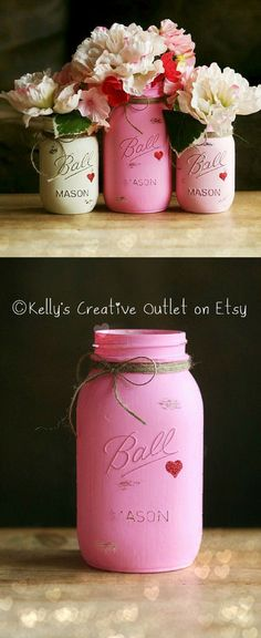 Shabby and sweet mason jars in pink and white colors with little hearts.  Would be a great centerpiece for a wedding or as Valentine's Day decor.   #masonjars #rustic #decor #pink #shabbychic #shabby #farmhouse #wedding #valentinesday #valentine #vase #promoted #etsy