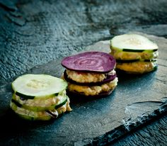 Raw, vegan and gluten free! Tea sandwiches made with cucumber, beets and a delicious pine-nut filling!