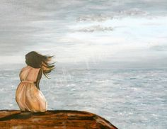 """Girl in the Wind"" Original Artwork created with acrylic paint on canvas available for purchase through my Etsy site - LeahNewtonPrints"
