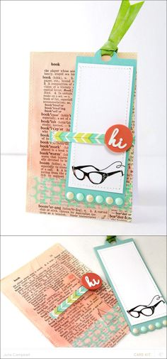 Bookmark & Card in one - watercolored dictionary paper - Julie Campbell #studiocalico