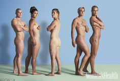 Baring all before Rio: Five of England's Olympic Women's rugby sevens squad posed naked for the latest edition of Women's Health magazine in a bid to celebrate their different physiques (Pictured from left: Heather Fisher, Amy Wilson-Hardy, Michaela Staniford, Danielle Waterman and Claire Allan)