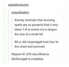 """Dumbledore : """"I'm the most powerful wizard in the world"""" McGonagall : """"Hold my butterbeer"""""""
