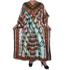 31906e54d61 Mogulinterior Womens Caftan Dress Ethnic Printed Beach Coverup Brown  Lounger Wear Kaftan Beach Wear Dresses
