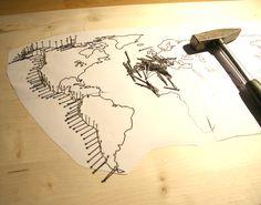 Ideas For Nails Art Diy Creative Nail Art Diy, Diy Nails, Diy Art, Fancy Nails, Nail Nail, Arte Linear, String Art Tutorials, Nail String Art, World Map Art