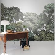 Dreamy trees in soft green colors in mural BELLEWOOD by Rebel Walls.Printed on smooth non woven wallpaper and easy to apply (paste the wall). Forest Wallpaper, Wall Wallpaper, Swedish Wallpaper, Playroom Wallpaper, Green Wallpaper, Adhesive Wallpaper, Photo Wallpaper, Forest Design, Tree Forest