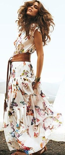 Summer boho butterfly print maxi dress