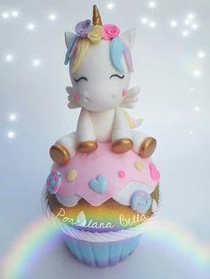 17 Ideas for cupcakes unicornio de pasta flexible Party Unicorn, Unicorn Birthday Parties, Unicorn Cakes, Mini Cakes, Cupcake Cakes, My Little Pony Unicorn, Fondant Animals, Salty Cake, Birthday Cake Girls