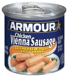 Armour Vienna Sausages, Chicken, 4.75-Ounce Cans (Pack of 24) by Armour, http://www.amazon.com/dp/B0057FSR6W/ref=cm_sw_r_pi_dp_gciKrb033YQZG