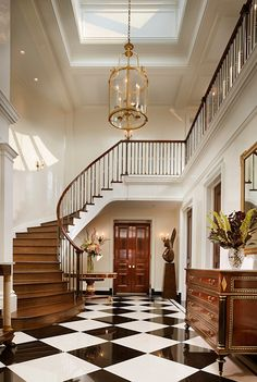 Awesome Black And White Decor Interior Design Ideas 26 Foyer Staircase, Entrance Foyer, Entry Hall, Staircase Design, Staircases, Entryway Decor, Bedroom Decor, Master Bedroom, Entrance Halls