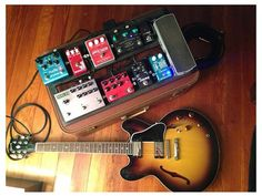 Bryant Urich's Gibson 335 guitar and sweet pedal board setup.