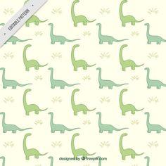 Hand drawn green dinosaurs pattern Free Vector