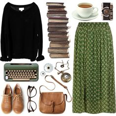 Green by hanaglatison on Polyvore featuring Issue 1.3, Dorothy Perkins, Very Volatile, Toast, floral, bag, brogues, tan, pleated and oxford