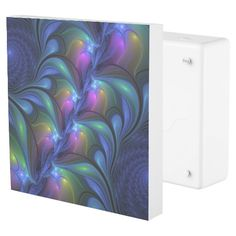 Colorful Luminous Abstract Blue Pink Green Fractal Outlet Cover