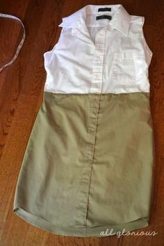 Upcycling . Kleid aus 2 alten Herren-Hemden nähen . Tutorial