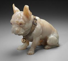 Peter Carl Fabergé, The Balletta Bulldog, c.1910. Gold, silver, agate, diamond, ruby. Museum of Fine Arts, Boston. Both the name and address of the dog represented here (Cody, Av. Bosquet 9) are inscribed on an applied gold plaque secured to the dog's bejeweled collar. The sculpture of Cody was a gift to actress Elizabeth Balleta from Grand Duke Alexei Alexandrovich, son of Alexander II.