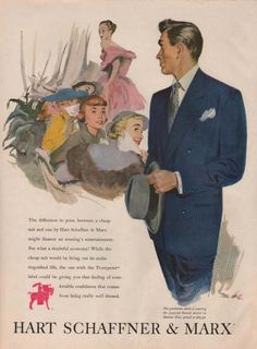 Vintage 1950 Hart Schaffner & Marx ad from the Retro Reveries shop on Etsy. Handsome man checking out the latest designs at a fashion show. 1940s Mens Fashion, Vintage Fashion, Men's Fashion, Fashion Ideas, Retro Advertising, Vintage Advertisements, Marine Blue Suit, 1920s Mens Hats, Homburg