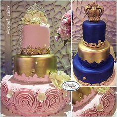 Celebrations for a Prince & Princess  #sugarcakes #lightpink #royalblue #gold #crown #tiara #rosettes #cakeart #royal #pink  #hazelnutcake #vanilla #royalcakes #customcakes