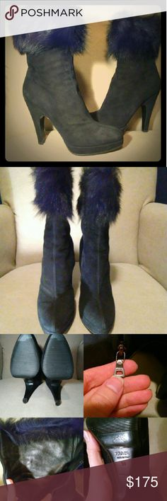 Prada boots Authentic Prada suede boots with fur top. Size 39 (9 US) Soft leather inside. 5 inch heel, slight platform. Very comfortable! Don't have original box or dustbag. No trades. Prada Shoes Heeled Boots