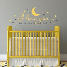 """I love you to the moon and back Wall Decal - Nursery Decal - Baby Wall Decor - Extra Large. I love you to the moon and back Wall Decal is available in the colors of your choice. See the color chart for your options. Colors pictured are Yellow and Dark Grey. The photographs are for a reference be sure use the measurements when ordering. Size - 60"""" wide by 21.3"""" high (as pictured) *** The moon, stars and phrase come separately so you can place them however you'd like onto the wall. The…"""