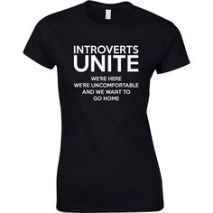 Introverts Unite, Ladies Printed T-Shirt ($16) ❤ liked on Polyvore featuring tops, t-shirts, henley tops, women tops, henley tee, graphic tees ve henley t shirt