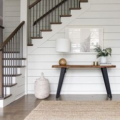 shiplap, contrast Wood Staircase, Staircase With Landing, Modern Railings For Stairs, Modern Stair Railing, Stair Spindles, Entryway Stairs, Staircase Remodel, Entryway Furniture, Banisters