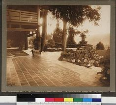 The Gambles' view of their home's terrace and surrounding landscape, with the arroyo seco in the distance.