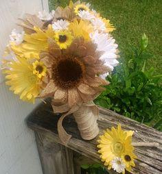 Burlap Sunflower Bouquet Yellow Daisy Bouquet by SilkFlowersByJean, $80.00