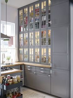 IKEA kitchen ideas, I like all the storage from floor to ceiling.