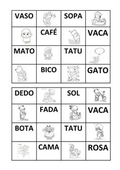 Bingo de palavras Fails, Education, School, Visual Perceptual Activities, Word Bingo, Word Formation, Reading Strategies, Therapy, Autism