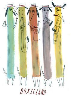 Doxieland Illustration by Mark Hoffman (via Mark Hoffmann)