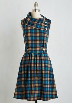 Coach Tour Dress in Teal Plaid - Multi, Blue, Plaid, Print, Pockets, Casual, A-line, Sleeveless, Fall, Knit, Better, Mid-length, Winter