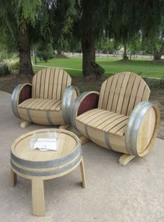 Spring is here! Wine barrel patio furniture...