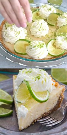 Homemade Key Lime Pie recipe from scratch with lots of lime zest and fresh lime juice for a fresh citrusy flavor with the most amazing creamy texture. recipes Homemade Key Lime Pie Recipe [VIDEO] - Sweet and Savory Meals Key Lime Pie Recipe From Scratch, Key Lime Pie Recipe Video, Homemade Key Lime Pie Recipe, Key Lime Pie Recipe With Cream Cheese, Key Lime Pie Recipe Pioneer Woman, Key West Key Lime Pie Recipe, Key Lime Pie Recipe No Bake, Lime Cake Recipe, Best Key Lime Pie