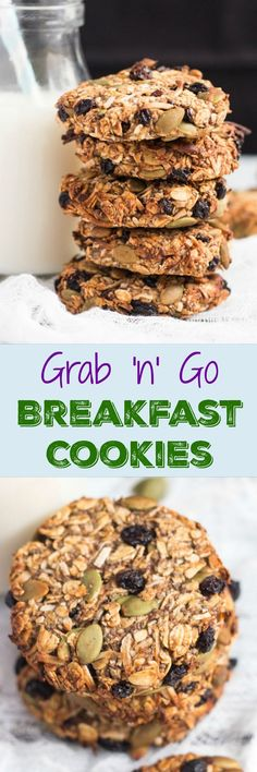 Healthy Grab and Go Banana Breakfast Cookies Grab & Go Breakfast Cookies. Never skip breakfast again with a batch of these in your freezer.Grab & Go Breakfast Cookies. Never skip breakfast again with a batch of these in your freezer. Healthy Desayunos, Healthy Treats, Healthy Baking, Healthy Recipes, Healthy Sugar, Healthy Drinks, Vegan Sugar, Healthy Mummy, Thai Recipes
