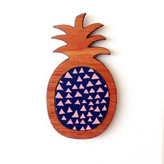 Pineapple Brooch  Wood and Paper Laser Cut Brooch  by EachToOwn, $32.00