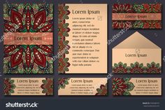 Set Of Invitation Templates With Colorful Tribal Mandalas. Ethnic Wedding And Invitation Cards. Vector Illustration. - 539348374 : Shutterstock
