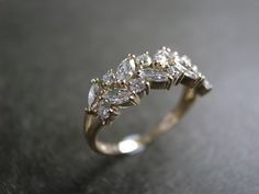 Marquise Diamond Wedding Ring in 14K Yellow Gold