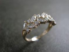 Marquise Diamond Wedding Ring in 14K Yellow Gold by honngaijewelry