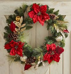 Outfitted with warm white LEDs, our handcrafted poinsettia wreath gives your mantel or front door a special holiday glow that's extra-merry and bright, thanks to pretty beading, glitter and golden ornaments and ribbon. Christmas Wreaths With Lights, Country Christmas Decorations, Holiday Wreaths, Xmas Decorations, Handmade Christmas, Christmas Crafts, Christmas Ornaments, Deco Led, Christmas Arrangements
